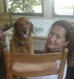 Marcia Passos Duffy with her office buddy, Sadie